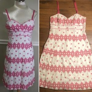 Lilly Pulitzer pink and white embroidered dress